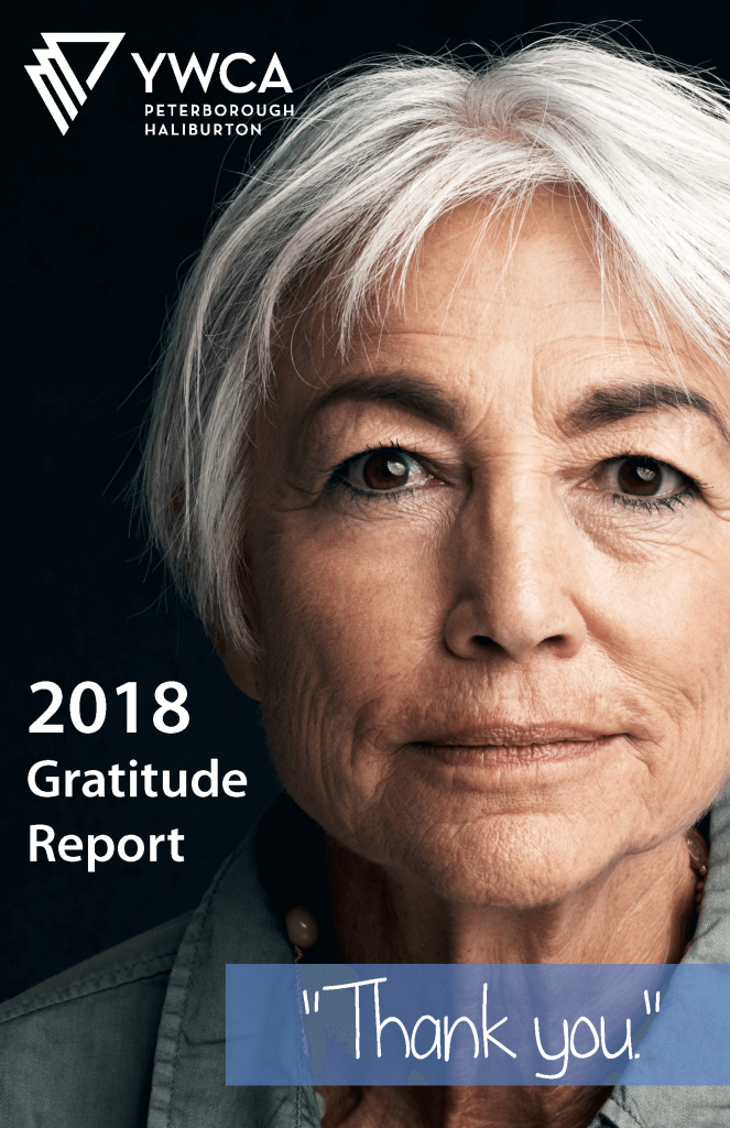 "Image of woman with short grey hair and intense brown eyes, looking directly at viewer, with the words ""2018 Gratitude Report"" and ""Thank You"" beneath the YWCA logo"