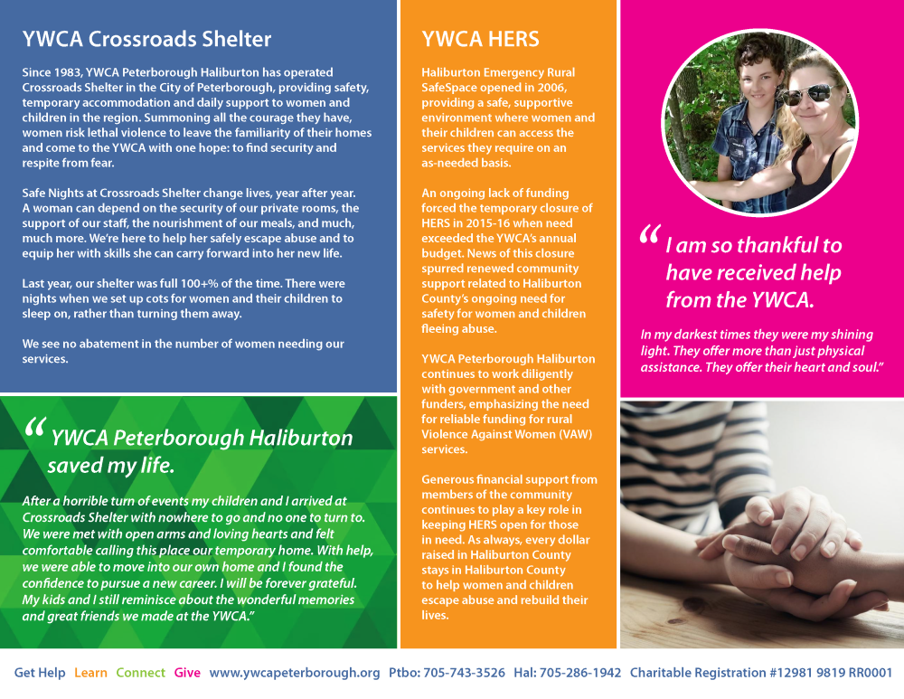 Image of YWCA's 2019 Impact Report back cover